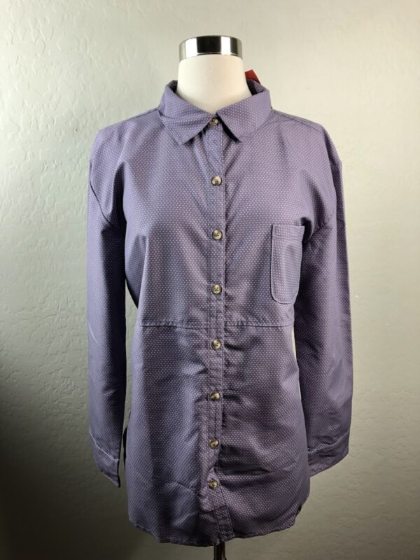 NWT The North Face Stevie Womens L Purple Sage Dotted Long Sleeve Shirt