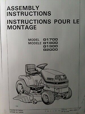 Kubota G1700 G1800 G1900 G2000 Lawn Garden Tractor Assembly Instructions Manual