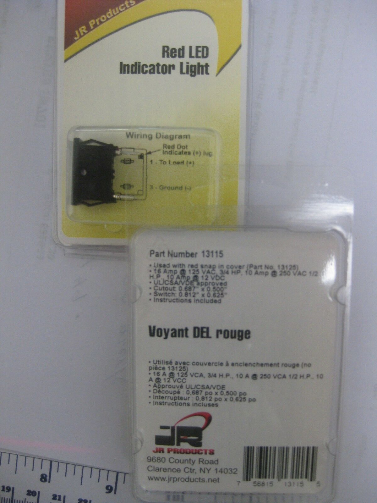 JR Products 13115 Red LED Indicator Light with Black Bezel - 2pks