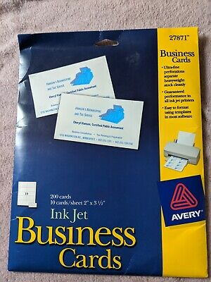 New Avery 27871 Ink Jet Business Cards 200 Cards 2 X 3 12 Ultra-fine Perf.