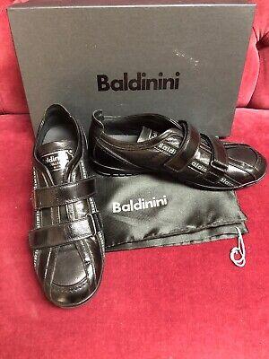 Baldinini Mens Collection Black Leather Signature Sneakers Casual Shoes 40 NIB