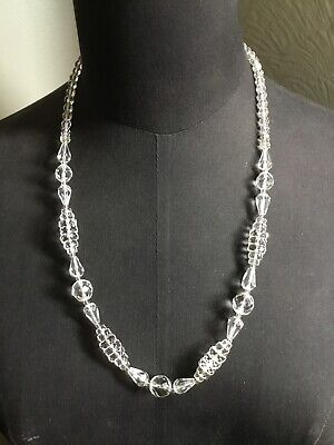 1930s Art Deco Style Jewelry Stunning Art Deco 1930s Vintage Faceted Clear Crystal Glass Bead Necklace #5984 $34.54 AT vintagedancer.com