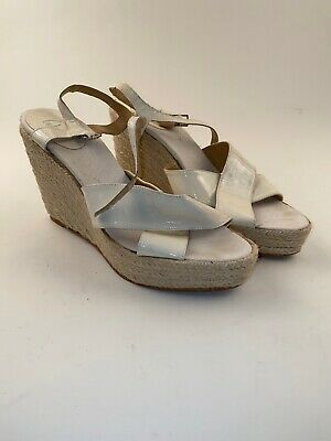 Castaner Wedge Slip On Espadrille Sandals White Sz 40EU Size 9.5US EXCELLENT