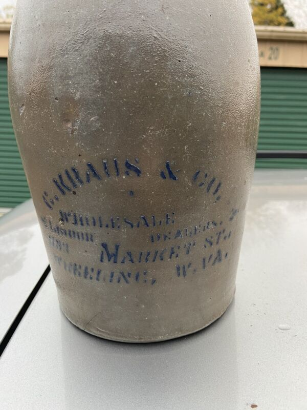 ONE-GALLON WHEELING WV STONEWARE ADVERTISING JUG WESTERN PA ORIGIN C. KRAUS & Co