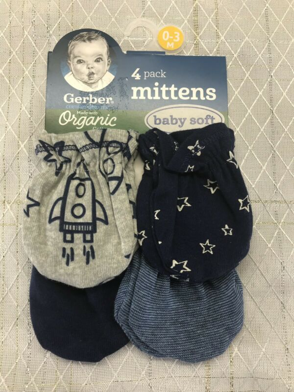 New Gerber 4 Pack Baby Boy Infant Scratch Mittens Gloves 0-3 Months Blue Stars
