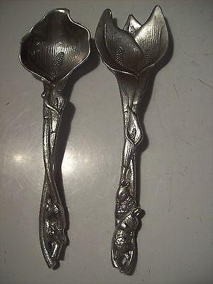 Rare Arthur Court Calla Lily Bunny Aluminum Salad Spoon Fork Tongs