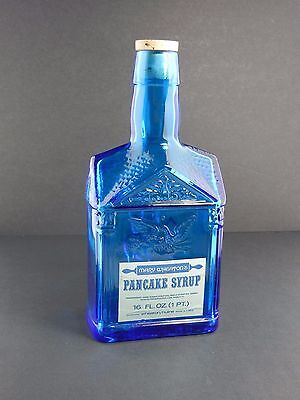 Blue Glass Bottle Old Wheaton Paul Revere Syrup Bottle Good Condition