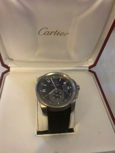 Cartier Calibre W710041 SS Black Dial 42mm Automatic Exc. Cond. NO RESERVE WOW! - watch picture 1