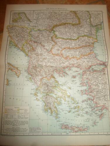 Old Map THE BALKAN PENINSULA ~ Taken From The Universal Atlas 1893