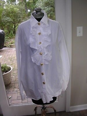 Vintage Pirate Costume (#405 VINTAGE WHITE COTTON RUFFLED POETIC SHIRT/BLOUSE~  COSTUME COLONIAL)