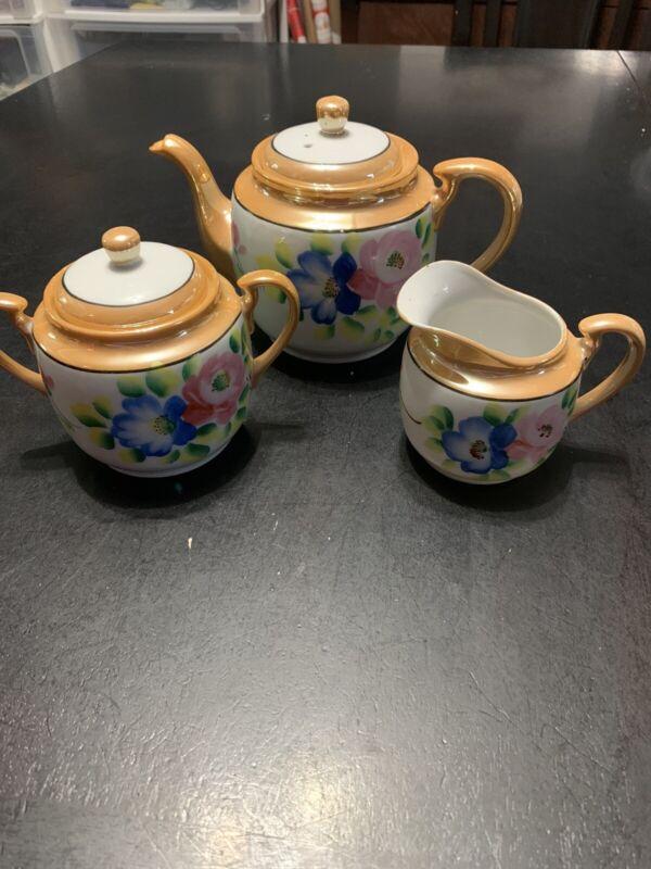 5 PIECE VINTAGE PORCELAIN LUSTERWARE TEA SET CREAMER TEAPOT SUGAR BOWL Japan
