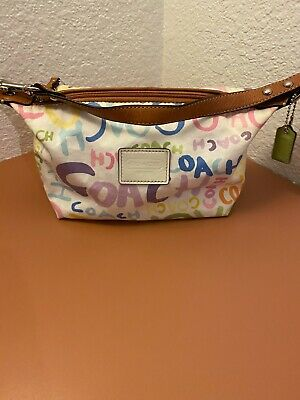Coach Signature white and brown trim mini purse