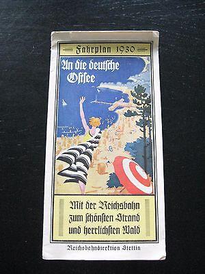 alter Fahrplan 1930 An die deutsche Ostsee Mit der Reichsbahn Stettin