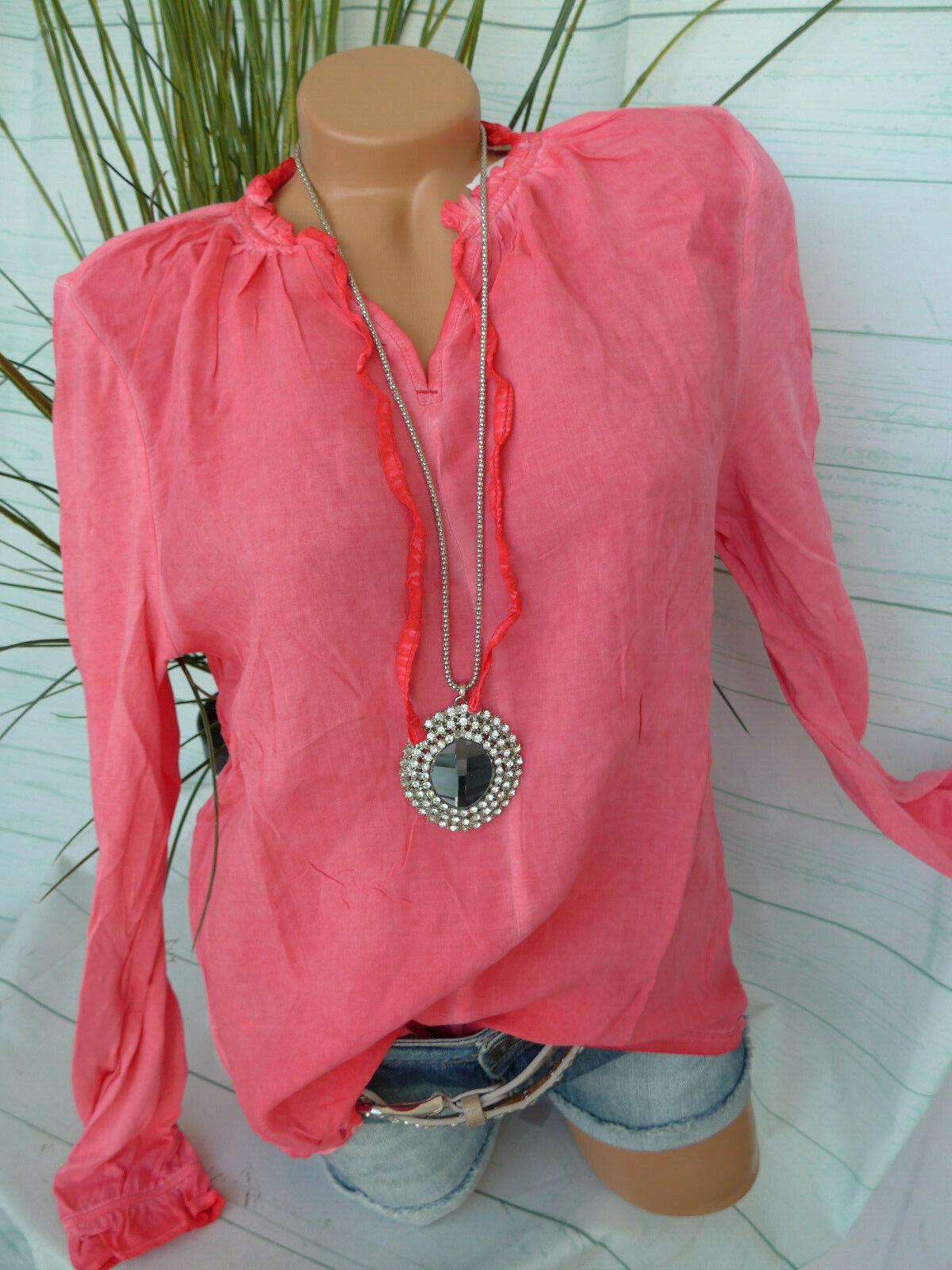 Esprit Bluse Damen Shirt EDC Gr. S bis XXL Koralle Oil Wash (633) NEU