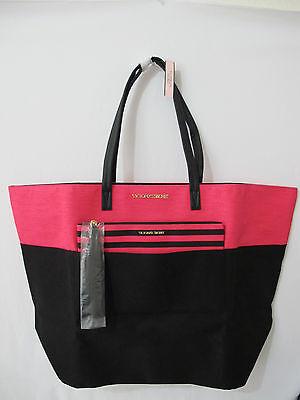 NIP Victoria's Secret Pink/Black Striped Logo Open Top Tote w/ Pouch *FREE SHIP* Open Top Striped Tote