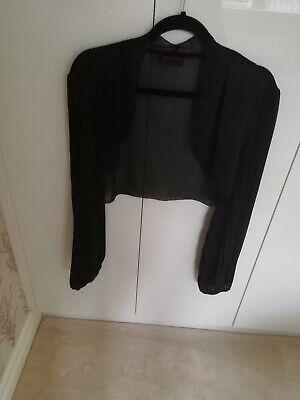 Frank Usher Black Chiffon Style Bolero Top Size (Usher Style)