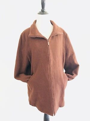 Eileen Fisher Womens Size L Brown Zip Up Jacket Italian Fabric Wool Lined Collar