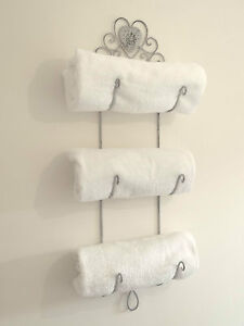 Shabby chic towel rail ebay for Shabby chic towel stand
