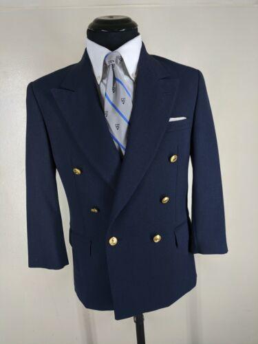 Boys Vintage  Polo Ralph Lauren Double Breasted Blue Blazer No Vents 16 Reg