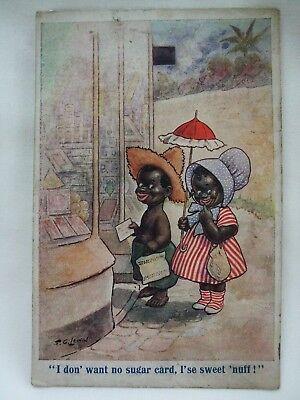 Antique Postcard - Early 1900's - F.G.Lewin 'Artistique' Series - Black Children