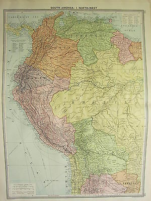 1920 LARGE MAP ~ SOUTH AMERICA NORTH-WEST PERU BRAZIL VENEZUELA BOLIVIA