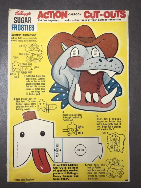Vintage 1960's Kellogg's SUGAR FROSTIES Hippo ACTION CARTOON CUT-OUTS Panel