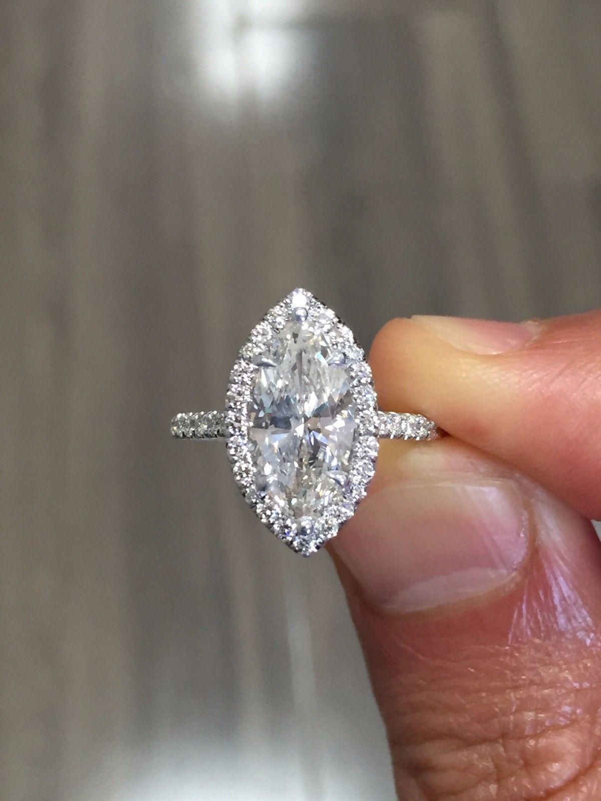 GIA 3.78 Ct. Marquise Cut Halo Pave Diamond Engagement Bridal Set H VS2 GIA 14k
