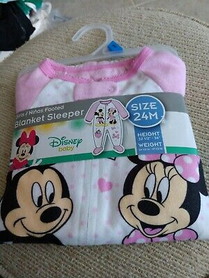 Disney Baby Mickey and Minnie Mouse Baby Sleeper Outfit Size 24 Months New