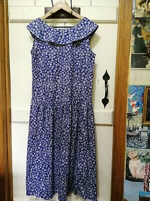 PRETTY VINTAGE 1980'S LAURA ASHLEY  COTTON DRESS SIZE 12 MADE IN GREAT BRITAIN
