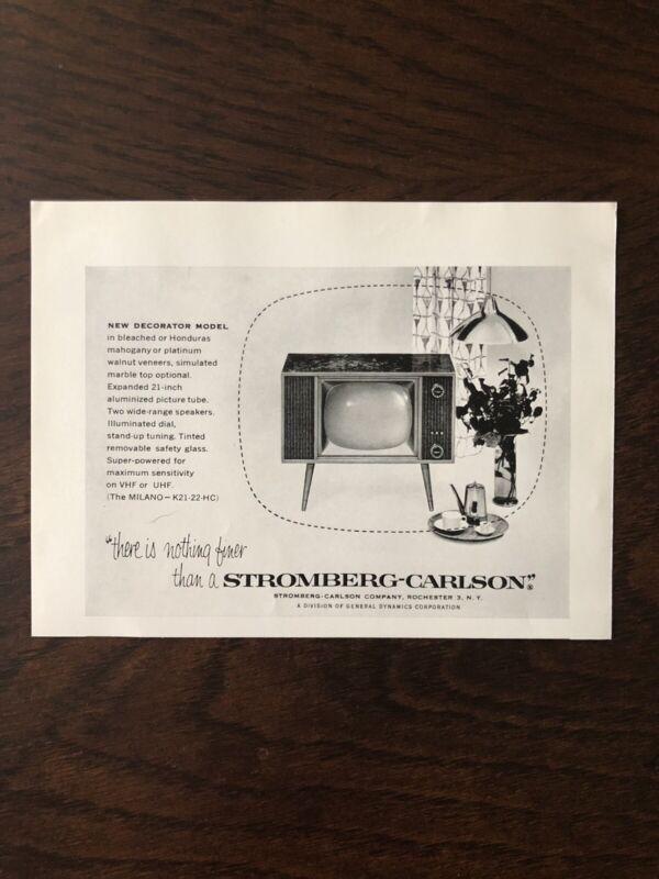Vtg Television Set Ad Mid Century TV 50s Stromberg Carlson #L1