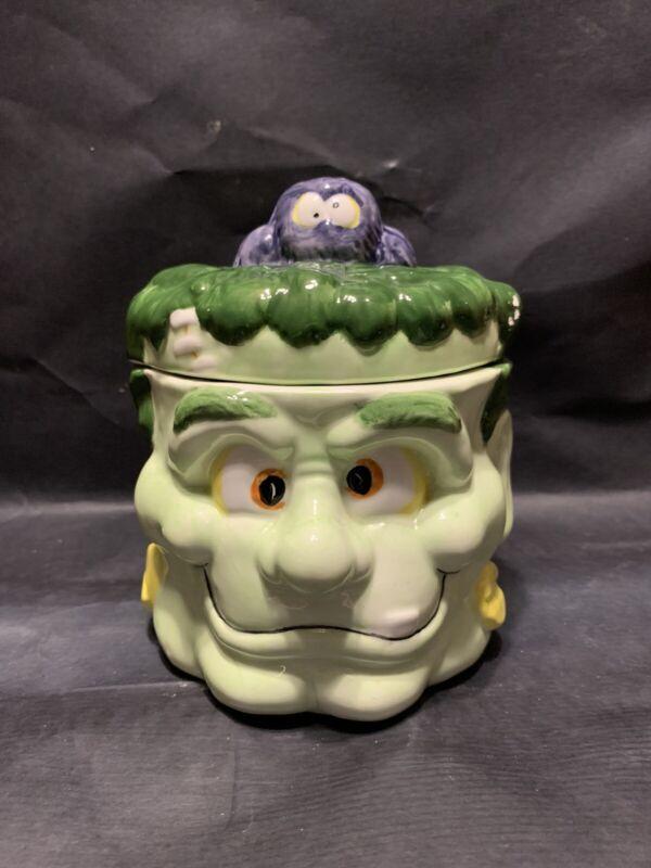 Frankenstein Candy Dish or Cookie Jar Ceramic Halloween Décor Green Monster