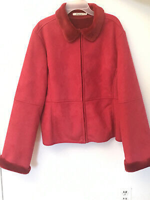 Red Woman's Jacket Coat, British Brand M&Co, Size 16 UK (USA L-XL)