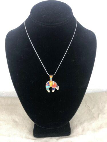 Navajo Inlay Sterling Silver Pendant Necklace