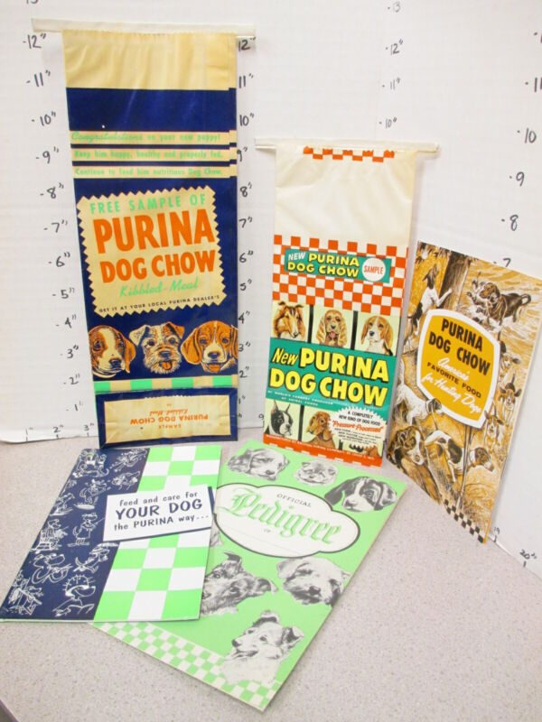 PURINA DOG CHOW free sample pet food bag 1957 (5 items) booklet pedigree chart