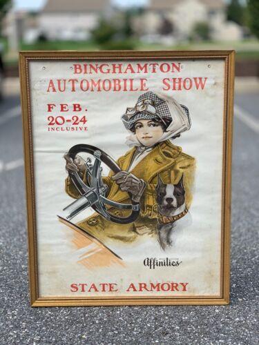 1912 Binghamton Automobile Show Poster Rare Advertising Sign Auto Brass Era