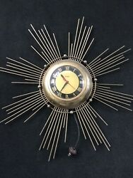 Vintage Mid Century Modern United Starburst Electric Metal Wall Clock Sunburst