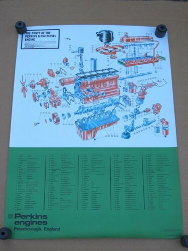 "Vintage Poster - The Parts Of The Perkins 6.354 Diesel Engine - 38-7/8""x 28-5/8"""