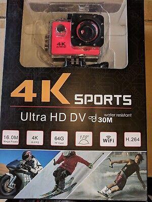 "PEACH WIFI 4K 2"" 1080P Sports Camera Ultra HD  Action DV 16MP & ACCESSORIES BNIB"