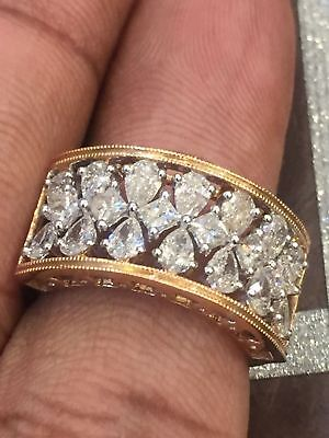 Pave 1,78 Cts Pear Princess Cut Natürlicher Diamant-Ring In Solides 14K Gelbgold (Gelber Princess-cut Diamant-ring)