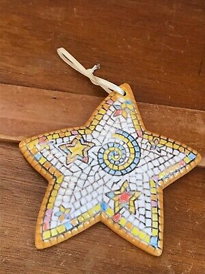 Gently Used Made in Philippines Ceramic Mosaic Christmas Star Tree Ornament –