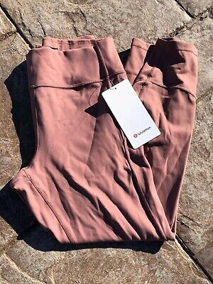 "NWT Lululemon Size 12 In Movement Tight 25"" Mauve REDU Red Dust"