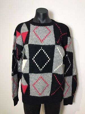 80s Sweatshirts, Sweaters, Vests | Women Vintage Retro Knit Jumper 100% Wool Shetland Black Grey Pink Geometric 80s $29.69 AT vintagedancer.com