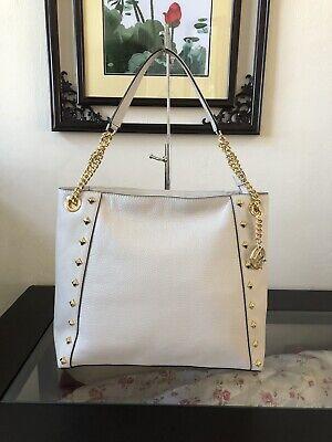 NWT MICHAEL KORS KATHY STUD LARGE Chain Shoulder Tote Bag VANILLA Leather $398