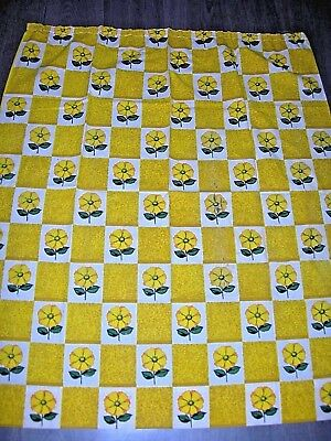 Vintage 60s 70s flower daisy squares yellow white cotton length fabric