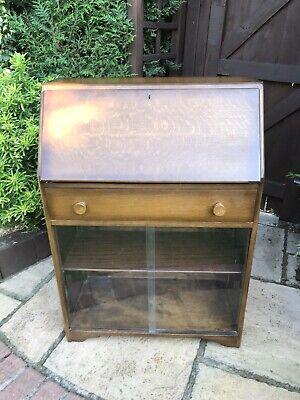 Vintage Bureau, Desk, Bookcase Glass Sliding Doors