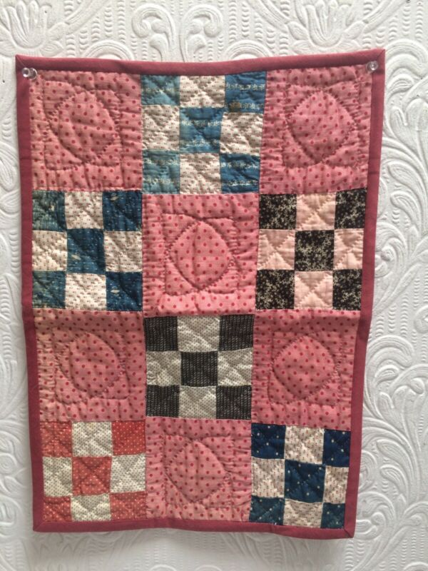 Antique 1880's Calicos 9 Patch Hand Quilted Doll Quilt