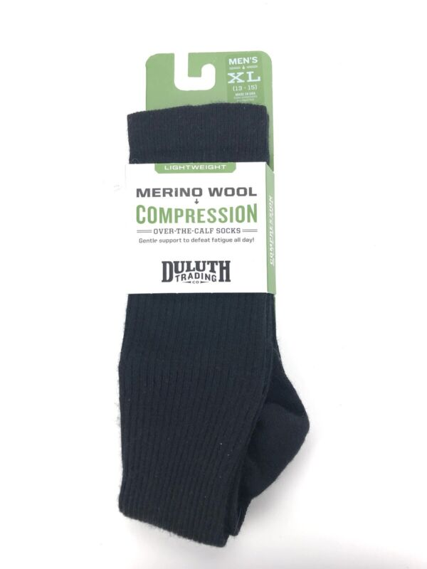 Duluth Trading Co. Merino Wool Over The Calf Compression Socks Men's Sz XL - NEW