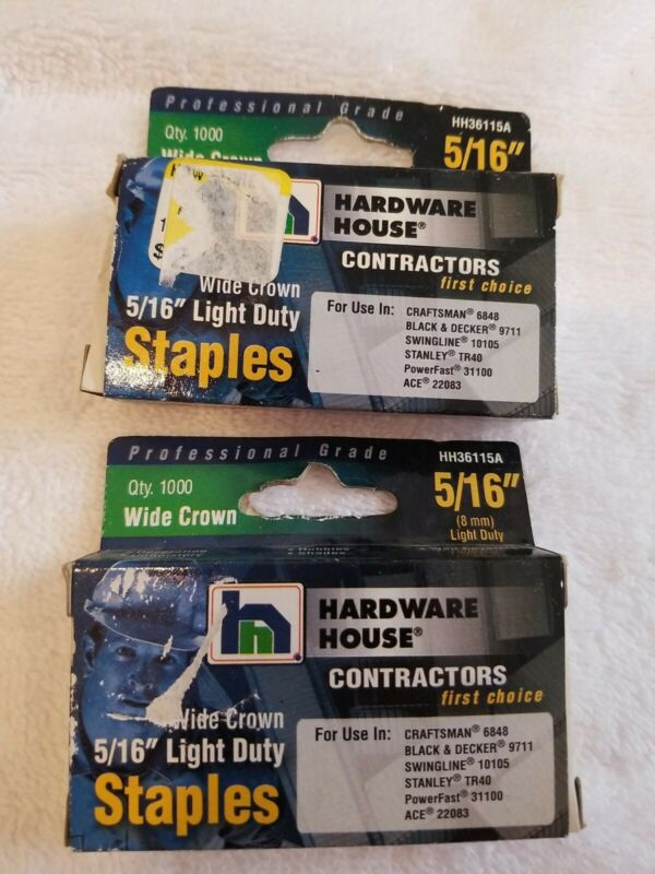 "2-Hardware House 5/16"" Light Duty Staples HH36115A  (1000 Count Box)"