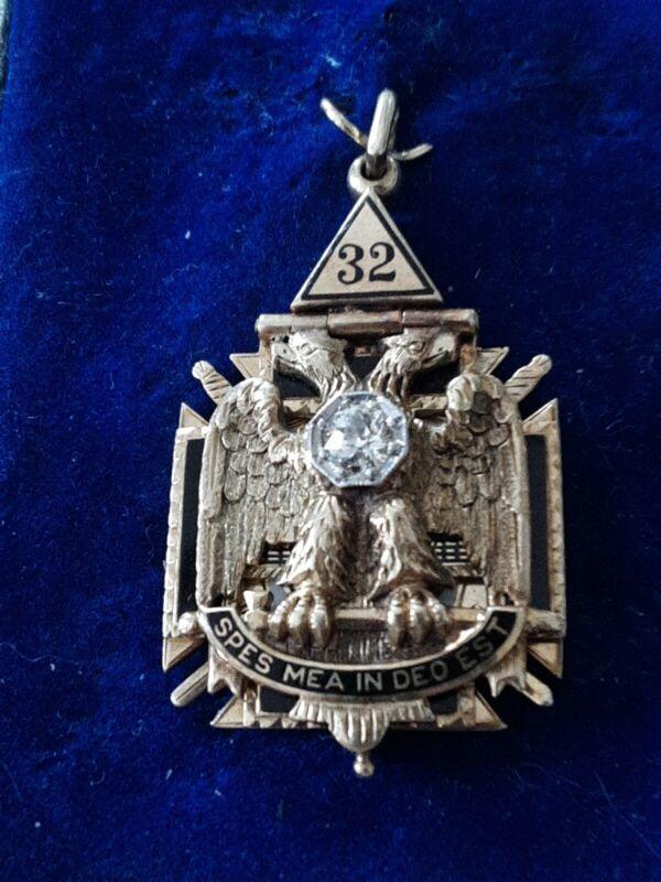 Masonic 14k Enamel Knights Templar 32 Degree Diamond NO MONOGRAM