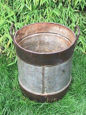 Vintage Large Indian Metal Riveted Steel Pot Bowl Container Garden Planter 2